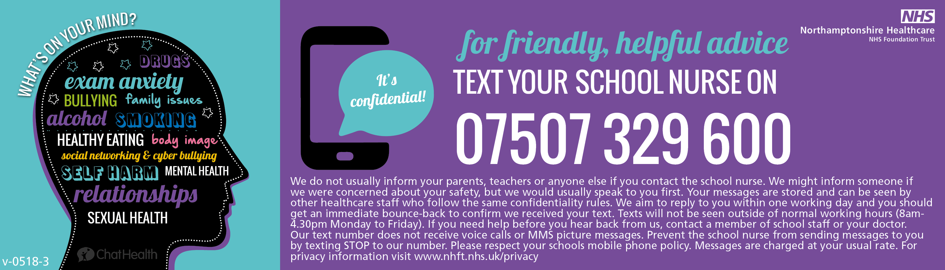 for friendly helpful advice text your school nurse on 07507 329 600